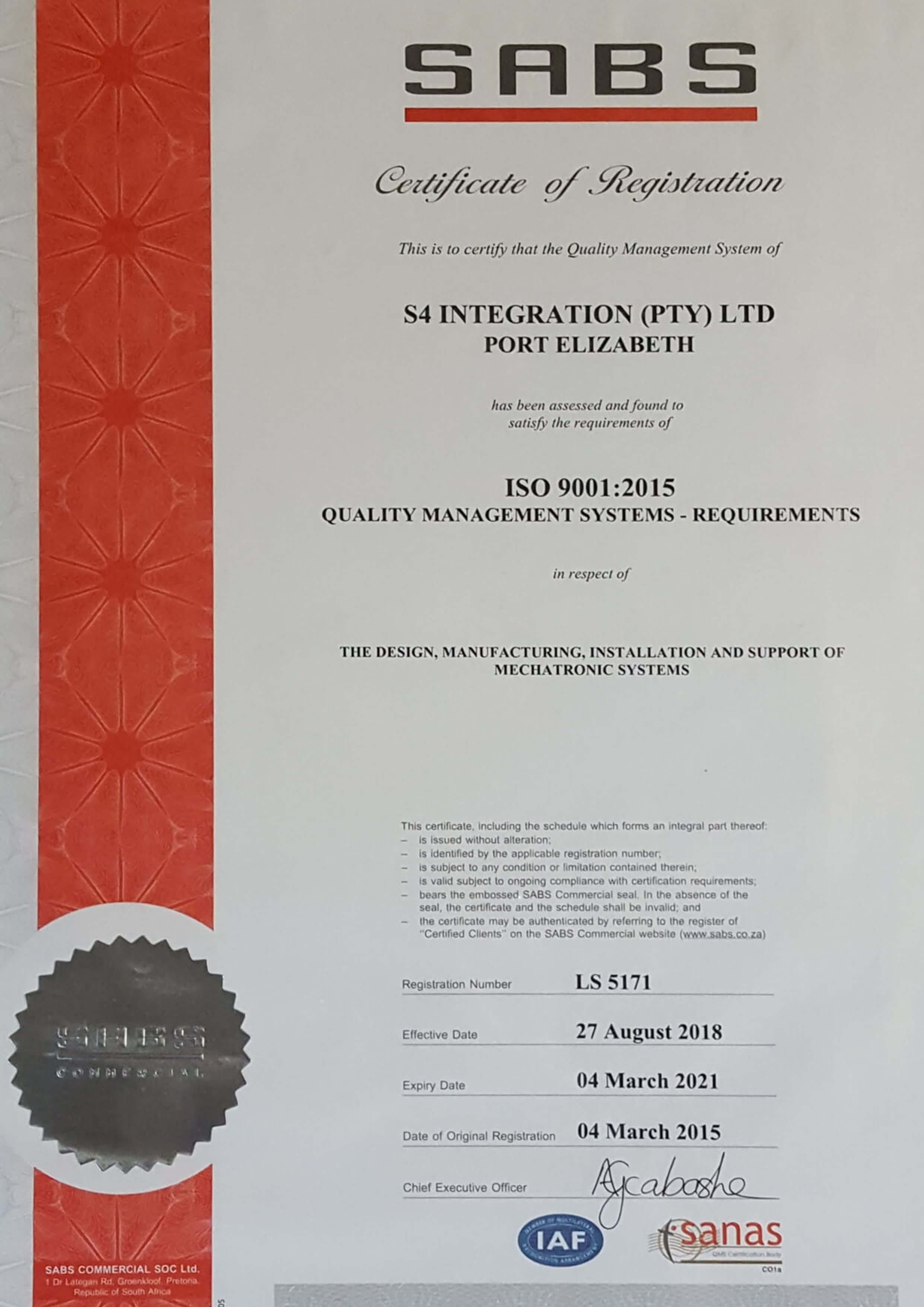 ISO 9001:2015 Certifcation